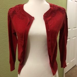 F21 red lacey cropped cardigan sweater
